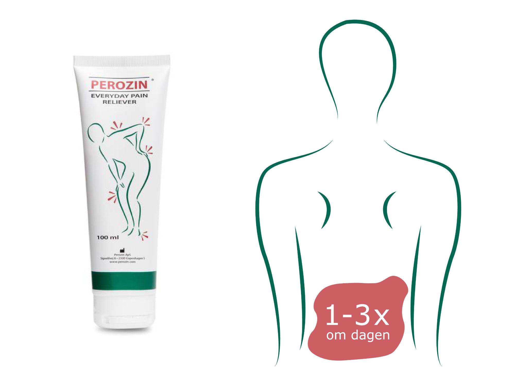 Brug Perozin op til 3 gange dagligt til smertelindring af myoser i lænden