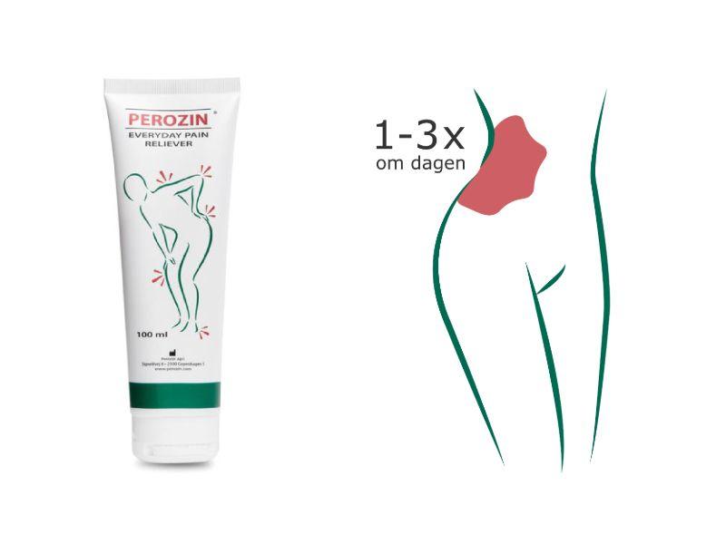 Brug Perozin op til 3 gange dagligt til lindring af smerter i hoften