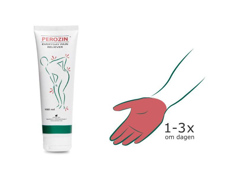 Brug Perozin op til 3 gange dagligt til smertelindring af gigt i hænderne
