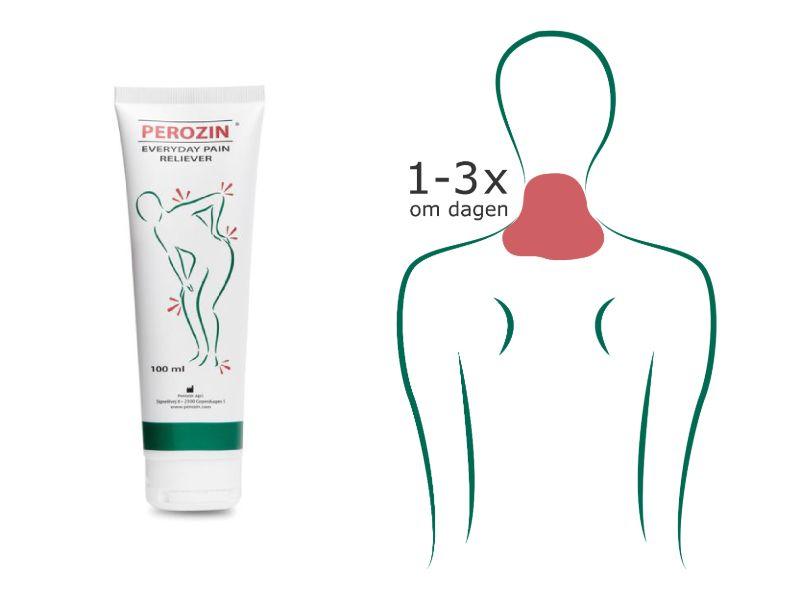 Brug Perozin op til 3 gange dagligt til smertelindring af myoser i nakken