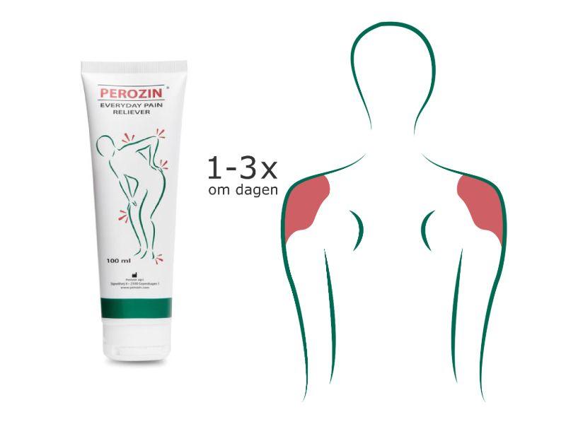 Brug Perozin op til 3 gange dagligt til lindring af smerter i skulderen